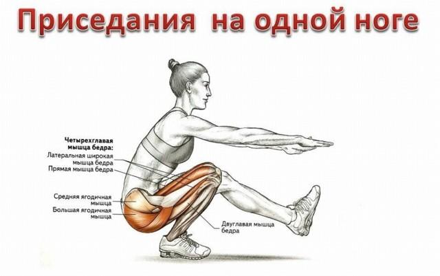 Особенности техники и варианты приседаний на одной ноге.