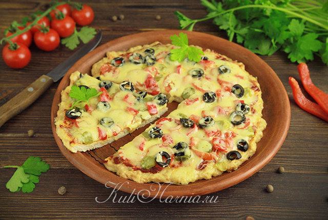 ПП пицца на курином фарше на сковороде в духовке: рецепт с фото