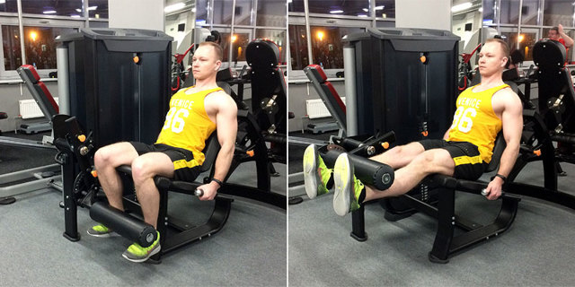 Разгибание ног в тренажере: техника выполнения, польза и недостатки упражнения