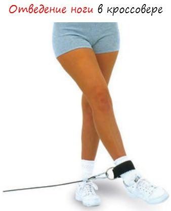 Отведение ноги в кроссовере стоя, в упоре на руках, лежа.